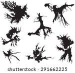 black ink blots illustration... | Shutterstock . vector #291662225