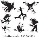 black ink blots illustration... | Shutterstock .eps vector #291663455