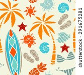 seamless pattern with sun  palm ... | Shutterstock .eps vector #291675281