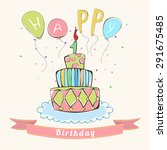 greeting birthday card with... | Shutterstock . vector #291675485