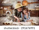 two boys in the form of pilot... | Shutterstock . vector #291676991