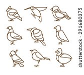 bird icons  thin line style ... | Shutterstock .eps vector #291680375