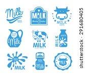 blue and white milk symbols ... | Shutterstock .eps vector #291680405