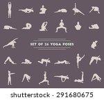 set of twenty six yoga poses.... | Shutterstock . vector #291680675