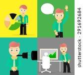 set of businessman pose... | Shutterstock .eps vector #291692684