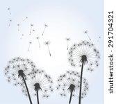 dandelions and wind. vector...   Shutterstock .eps vector #291704321