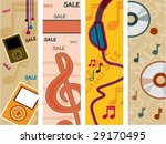 Music Sale Vertical Banners - Vector - stock vector