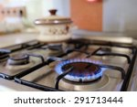 gas burning from a kitchen gas... | Shutterstock . vector #291713444