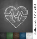heartbeat icon. hand drawn... | Shutterstock .eps vector #291717344