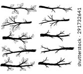 branch silhouettes with leave | Shutterstock .eps vector #291732641