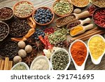aromatic spices in metal and... | Shutterstock . vector #291741695