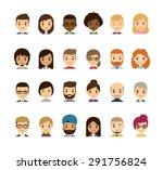 set of diverse avatars.... | Shutterstock .eps vector #291756824