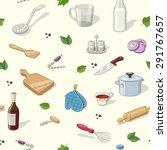 kitchen utensils. seamless...   Shutterstock .eps vector #291767657