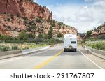 Motorhome trailer on the road in Monument Valley, Utah, USA - stock photo