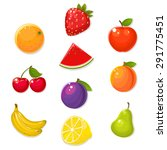 Cute Fruits On White Backgroun...