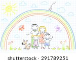 happy family   mom  dad and two ... | Shutterstock .eps vector #291789251