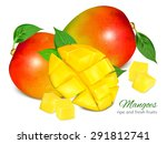 ripe fresh mango with slices...   Shutterstock .eps vector #291812741