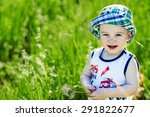 cute little boy in panama hat... | Shutterstock . vector #291822677