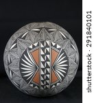 Small photo of Spherical Acoma seed pot painted in geometric patterns.