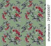 watercolor garden rowan plant... | Shutterstock . vector #291853307