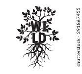 black vector tree  leafs  roots ...   Shutterstock .eps vector #291867455