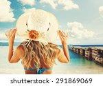 Girl With Straw Hat Sunbathing...