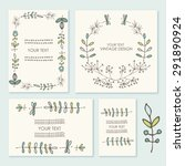 vector set  floral wreath and... | Shutterstock .eps vector #291890924