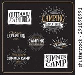 set of vintage summer camp... | Shutterstock .eps vector #291898991