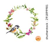wreath border frame with wild... | Shutterstock .eps vector #291899981