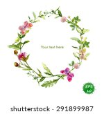 Stock vector wreath border frame with summer herbs meadow flowers and butterflies watercolor vector 291899987