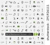 restaurant vector sticker icons ... | Shutterstock .eps vector #291926111