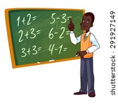 cartoon teacher stands near the ... | Shutterstock .eps vector #291927149