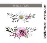 watercolor set with flowers ... | Shutterstock .eps vector #291939089