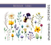 watercolor floral collection...   Shutterstock .eps vector #291939101