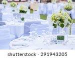 the elegant dinner table on the ... | Shutterstock . vector #291943205