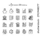 set of black finance thin ... | Shutterstock .eps vector #291948077