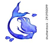 Mermaid Watercolor Vector...