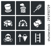 Chimney And Heating Coal Icons...