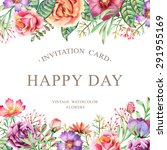 hand drawn watercolor card.... | Shutterstock .eps vector #291955169