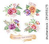 hand drawn watercolor bouquets. ... | Shutterstock .eps vector #291955175