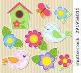set of vector flowers  birds ...   Shutterstock .eps vector #291956015