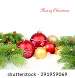 red and golden christmas balls... | Shutterstock . vector #291959069