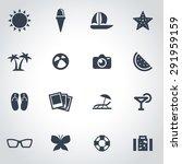 vector black summer  icon set...   Shutterstock .eps vector #291959159