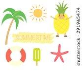 summer object set vector design ... | Shutterstock .eps vector #291965474