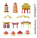 chinese traditional buildings | Shutterstock .eps vector #291968477
