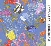 blue sea life seamless... | Shutterstock .eps vector #291971177