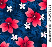 tropical red hibiscus flowers... | Shutterstock . vector #291979121