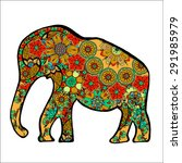 the cheerful elephant. the...   Shutterstock .eps vector #291985979