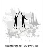 silhouette of the volleyball... | Shutterstock .eps vector #29199340