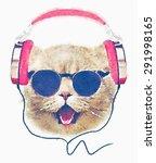 Stock photo t shirt graphics cute cat illustration watercolor cat cat poster cat graphics for textiles musician 291998165